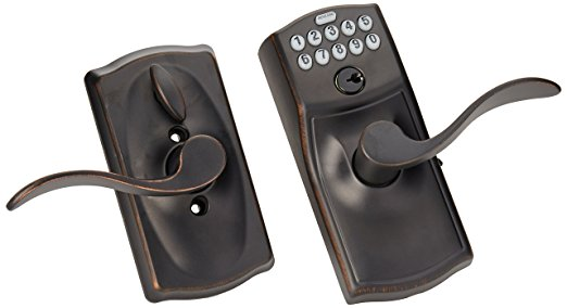 Schlage FE595VCAM716ACC Camelot Keypad Accent Lever Door Lock, Aged Bronz - Keypad Door Locks