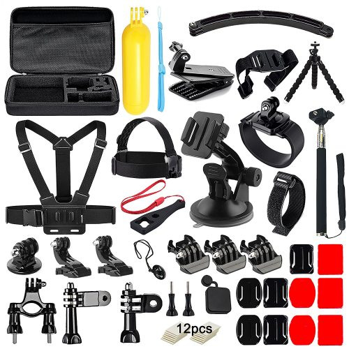 Soft Digits 50 in 1 Action Camera Accessories Kit for GoPro Hero 5 4 3+ 3 2 1 with Carrying Case/Chest Strap/Octopus Tripod - GoPro accessories Kit
