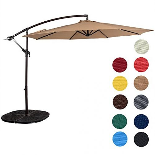 Sundale Outdoor 10 Feet Aluminum Offset Patio Umbrella with Crank - Offset Patio Umbrellas