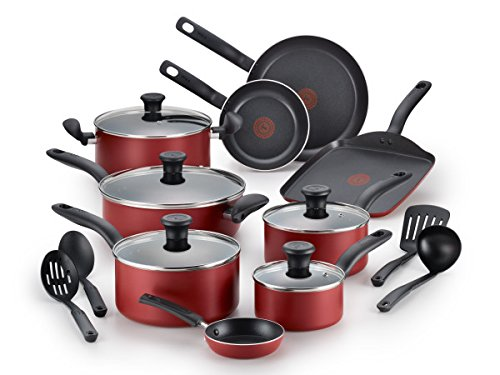 T-fal B165SI Initiatives Nonstick Inside and Out Dishwasher Safe 18-Piece Cookware Set, Red - pots pans sets