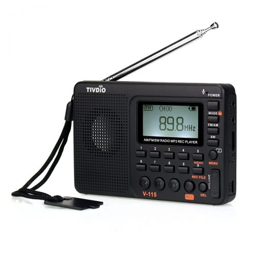 TIVDIO V-115 Portable Shortwave Transistor Radio AM/FM Stereo with MP3 Player Recorder Support T-Flash Card and Sleep Timer (Black) - shortwave radios
