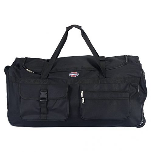 "Tangkula 36"" Rolling Wheeled Tote Duffle Bag Carry On Luggage Travel Suitcase Black - Rolling Duffel Bags"