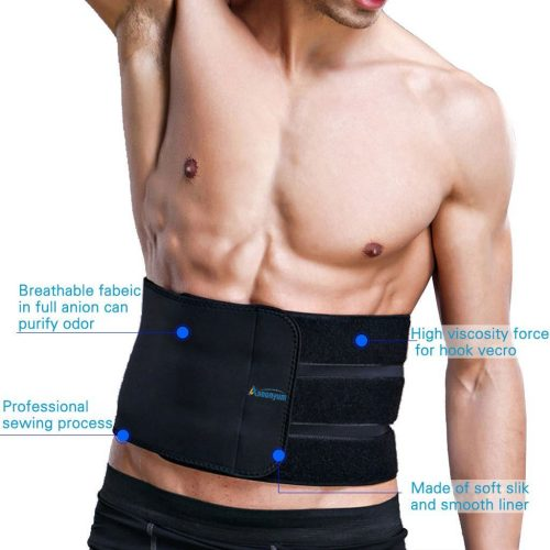 40ca38e1b9 Waist Trimmer Ab Belt Trainer for Men Women Weight Loss with 3 Adjustable  Hooks Helps Abdominal