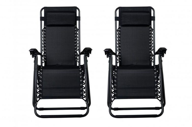 Zero Gravity Chairs Case Of (2) Black Lounge Patio Chairs Outdoor Yard Beach O62 - Patio Chairs