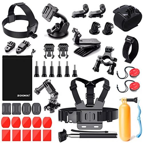 Zookki Outdoor Sports Accessories Kit for GoPro Hero Black Silver 5/4/3+/3/2/1 SJ4000 SJ5000 SJ6000, Accessories for Action Video Cameras Xiaomi Yi/WiMiUS/Lightdow/DBPOWER/ dOvOb - GoPro accessories Kit