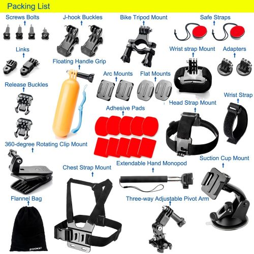 Zookki Outdoor Sports Accessories Kit for GoPro Hero Black Silver 5/4/3+/3/2/1 SJ4000 SJ5000 SJ6000, Accessories for Action Video Cameras Xiaomi Yi/WiMiUS/Lightdow/DBPOWER/ dOvOb - Best GoPro Head Mount
