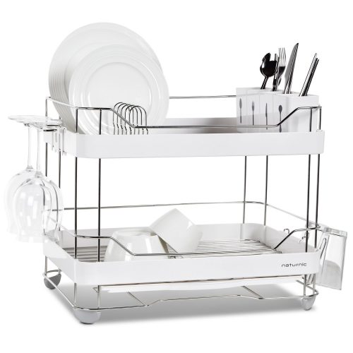 2-Tier wide kitchen sinkware dish rack, dish drying rack, stainless steel, large - Dish Rack