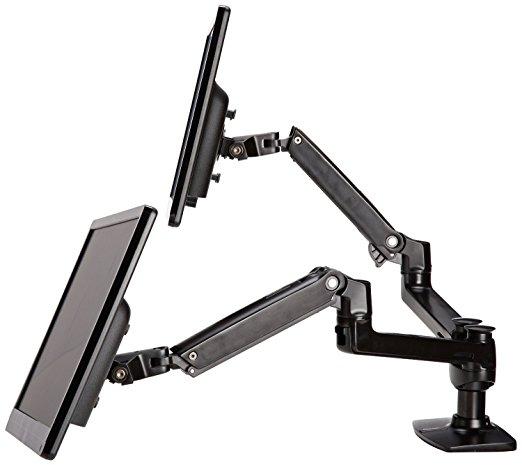 AmazonBasics Premium Dual Monitor Stand - Lift Engine Arm Mount, Aluminum - Dual Monitor Stands
