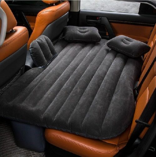 BH-Motor Inflatable Travel Camping Car Seat Sleep Rest Mattress Air Bed with Pillow/Pump (Black) - inflatable car bed