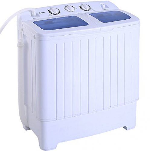 Costway Mini Portable Compact Twin Tub 16Lbs Washing Machine And Washer Spin Cycle w/ Hose - Portable Washing Machine