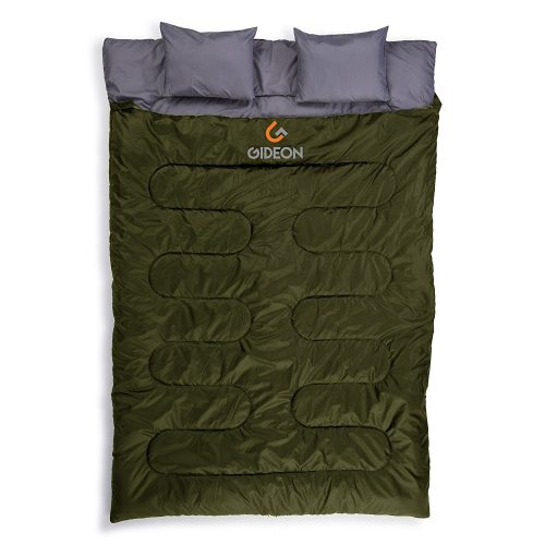 Gideon Extreme Waterproof Backpacking Double Sleeping Bag with 2 Pillows – Amazingly Lightweight, Compact, Comfortable & Warm – For Backpacking, Camping, etc. Double size or Convert into 2-Single Bags - Double Sleeping Bags