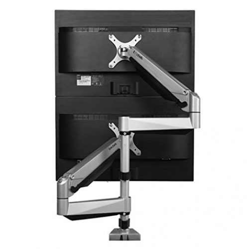 "Loctek D7SD Dual Monitor Mount, Dual Stacking Arm, Desk Clamp/Grommet Base Use for 2 LCDs, Holds up to 27"" LCD Monitors - Dual Monitor Stands"