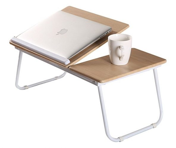 MULTIDECO Elegant Portable Laptop Desk Stand, Folding Tray, Adjustable Reading Holder for Bed, Sofa, Convenience Using at Camping - Folding Camping Table