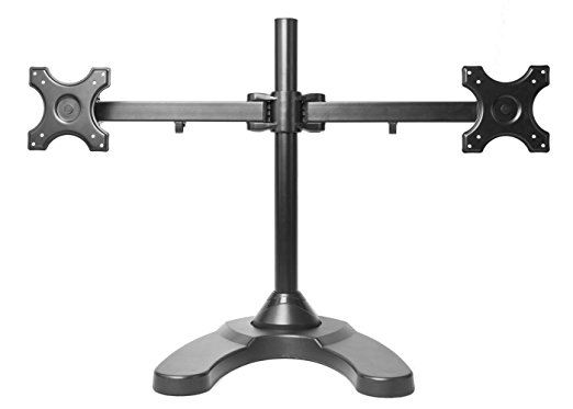 MonMount Dual LCD Freestanding Monitor Stand Up to 24-Inch, Black (LCD-6460B ) - Dual Monitor Stands