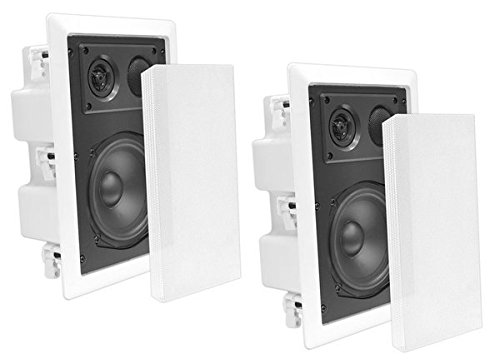 Pyle In-Wall / In-Ceiling Dual 8.0'' Enclosed Speaker Systems, 2-Way Flush Mount Stereo Speakers (Pair) - In-wall Speakers