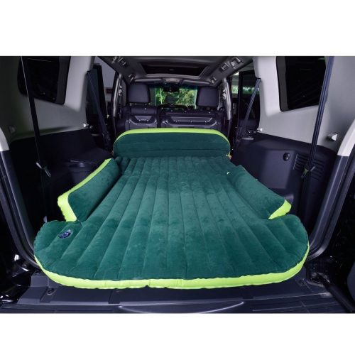 Wolfwill SUV Dedicated Mobile Cushion Extended Travel Mattress Air Bed Inflatable Thicker Back Seat (Green) - inflatable car bed
