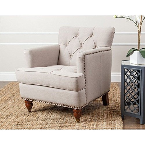 Abbyson Living Misha Tufted Fabric Accent Chair in Antique Brown - Leather and Fabric Club Chairs