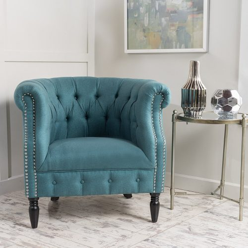 Akula scroll fabric club chair with nailhead accents - Leather and Fabric Club Chairs
