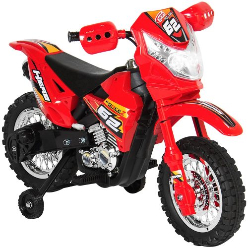 Best Choice Products 6V Electric Kids Ride Motorcycle Dirt Bike W/ Training Wheels- Red - Electric Dirt Bike