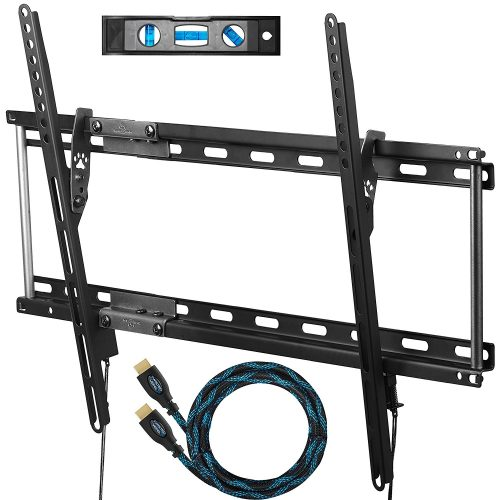 "Cheetah APTMM2B TV Wall Mount for 20-80"" TVs up to VESA 600 and 165lbs, and fits 16"" And 24"" Wall Studs, and includes a Tilt TV Bracket, a 10' Twisted Veins HDMI Cable and a 6"" 3-Axis Magnetic Bubble Level - Curved and Flat TV Wall Mount Bracket"