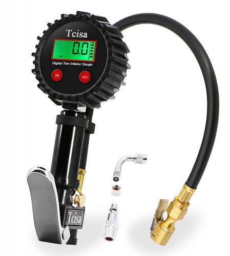 Digital Tire Pressure Gauge - Tcisa Auto Tire Inflator Gauge, 200 PSI Air Compressor Accessories Heavy Duty with Air Chuck Straight Lock-On, Valve Extender, Air Hose, for Car Truck Motorcycle - tire pressure gauge