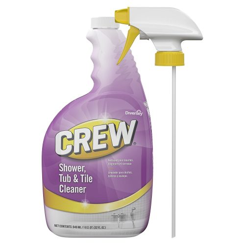 Diversey Crew Shower, Tub, and Tile Cleaner Capped Spray Bottle, 32 Ounces (4 Pack) - Automatic Shower Cleaners