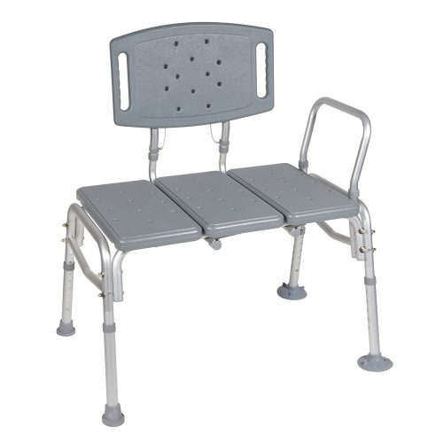 Drive Medical Heavy Duty Bariatric Plastic Seat Transfer Bench, Gray - Best Shower Transfer Benches