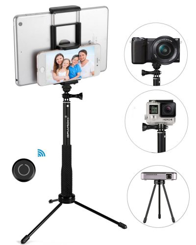 Dstecho GRANDO Selfie Stick, 2 in 1 Clip Extendable Monopod with Bluetooth Remote and Tripod Stand for Tablet, Apple, Android & Cameras Black - Projector Tripod Stands