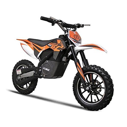Electric Dirt Bike by Moto Tec Features Variable Twist-Grip, Padded Seat, Adjustable Handlebars and Safety Brakes, Orange - Electric Dirt Bike