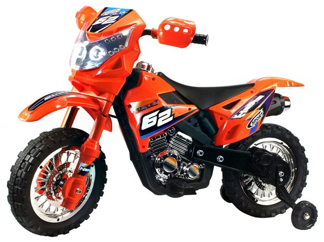 Extreme Rider Dirt Bike Children's Kid's Battery Operated Rechargeable Ride on Motorcycle w/ Removable Training Wheels, Ages 3 - 8 (Orange) - Electric Dirt Bike