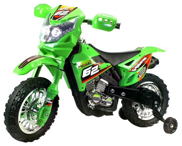 Extreme Rider Dirt Bike Children's Kid's Battery Operated Rechargeable Ride on Motorcycle w/ Removable Training Wheels, Ages 3 - 8 (Green) - Electric Dirt Bike