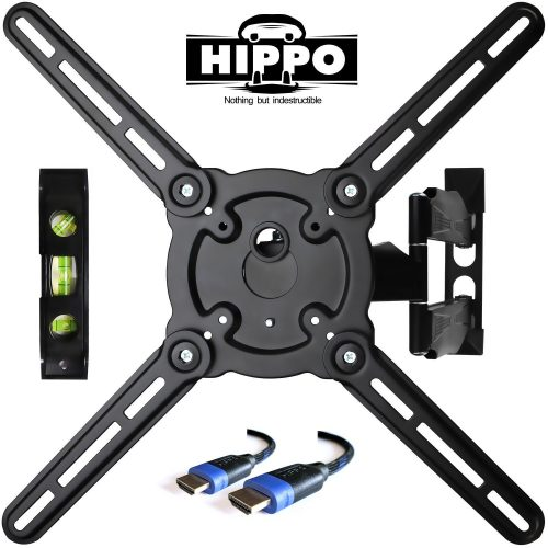 "HIPPO HP679TS Curved & Flat Panel TV Wall Mount Bracket for 26""-55"" TVs up to 88 lbs., VESA 400x400mm, Full Motion Swivel Articulating 20"" Extension Arm, 6.5 ft. HDMI Cable & Bubble Level Included - Curved and Flat TV Wall Mount Bracket"