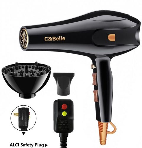 Hair Dryer Professional Ionic Hair Blow Dryer with Concentrator Diffuser 1875w Blow Dryers for Curly and Straight Hair - Hair Dryer for Curly