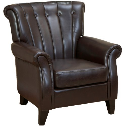 Haywood Brown Leather Channel-backed Club Chair - Leather and Fabric Club Chairs
