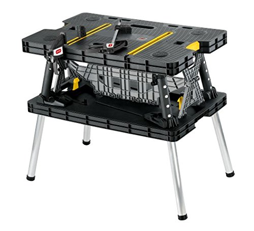Keter Folding Compact Workbench Sawhorse Work Table with Clamps 1000 lb Capacity - Portable Folding Workbenches