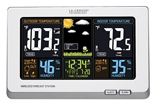 La Crosse Technology 308-1414W Wireless Atomic Digital Color Forecast Station - Weather Thermometers