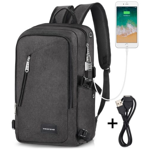 Laptop Backpack, WENFENG Business Computer Backpack with USB Charging Cable and Lock, Water Resistant Polyester Anti-theft School Bag Fits Under 17 Inch Laptop - 17-inch laptop backpacks