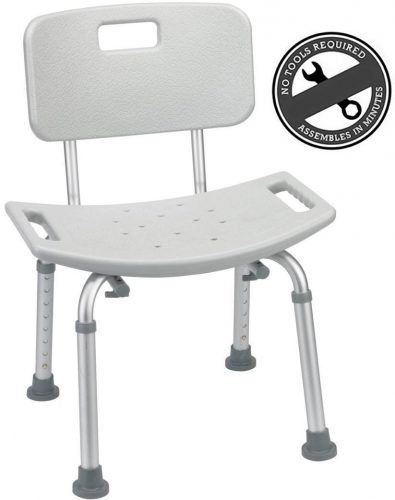 Medical Tool-Free Spa Bathtub Adjustable Shower Chair Seat Bench with Removable Back - Best Shower Transfer Benches