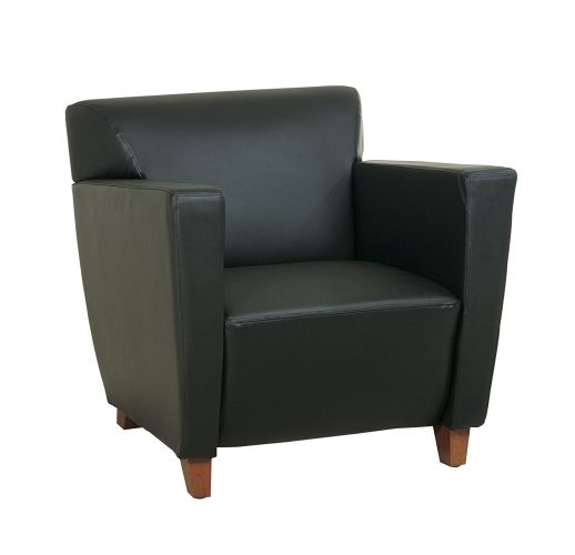 Office Star Modern Leather Club Chair with Cherry Finish Legs, Black - Leather and Fabric Club Chairs