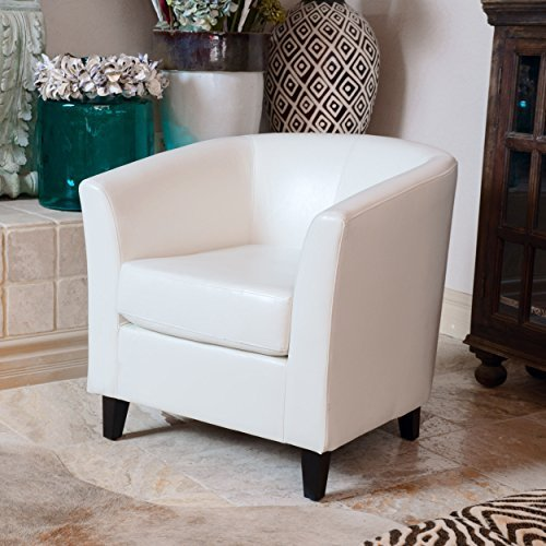 Petaluma ivory leather club chair - Leather and Fabric Club Chairs