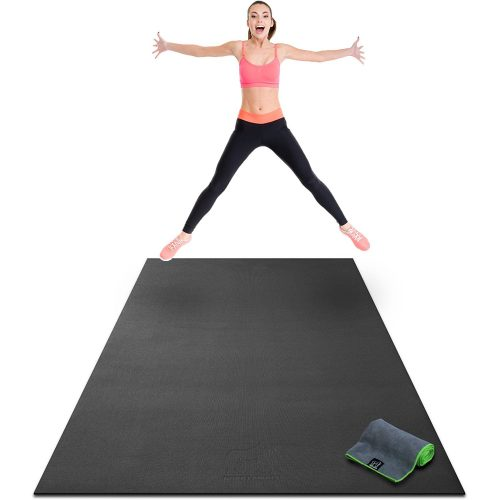 "Premium Extra Large Exercise Mat - 8' x 4' x 1/4"" Ultra Durable, Non-Slip, Workout Mats for Home Gym Flooring - Plyo, Jump, Cardio Mat - Use With or Without Shoes (96"" Long x 48"" Wide x 6mm Thick - Gym and exercise equipment floor mat"