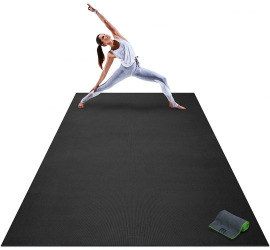 "Premium Extra Large Yoga Mat - 9' x 6' x 8mm Extra Thick & Comfortable, Non-Toxic, Non-Slip, Barefoot Exercise Mat - Yoga, Stretching, Cardio Workout Mats for Home Gym Flooring (108"" Long x 72"" Wide) - Gym and exercise equipment floor mat"