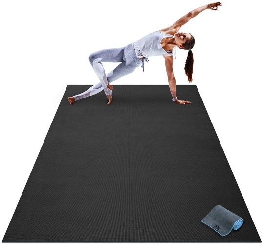 "Premium Large Yoga Mat - 7' x 5' x 8mm Extra Thick, Ultra Comfortable, Non-Toxic, Non-Slip, Barefoot Exercise Mat - Yoga, Stretching, Cardio Workout Mats for Home Gym Flooring (84"" Long x 60"" Wide) - Gym and exercise equipment floor mat"