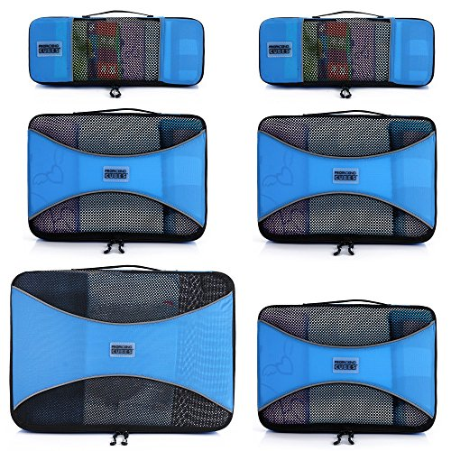 Pro Packing Cubes - 6 Piece Lightweight Travel Cube Set - Organizers and Compression Pouches System for Carry-on Luggage, Suitcase and Backpacking Accessories. - packing cube