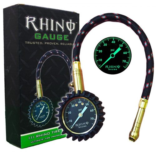 "RHINO USA Heavy Duty Tire Pressure Gauge (0-75 PSI) - Certified ANSI B40.1 Accurate, Large 2"" Easy Read Glow Dial, Premium Braided Hose, Solid Brass Hardware, Best For Any Car, Truck, Motorcycle, RV - tire pressure gauge"