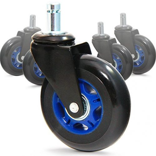 "RevoSmooth 3"" Rubber Office Chair Caster Wheel Replacement Rollerblade Style, Protect Floors and Glide Smoothly on tile, hardwood, 7/16"" x 7/8"" (3"", Black Fork / Blue Rim / Black Wheel - Office Chair Caster Wheels"
