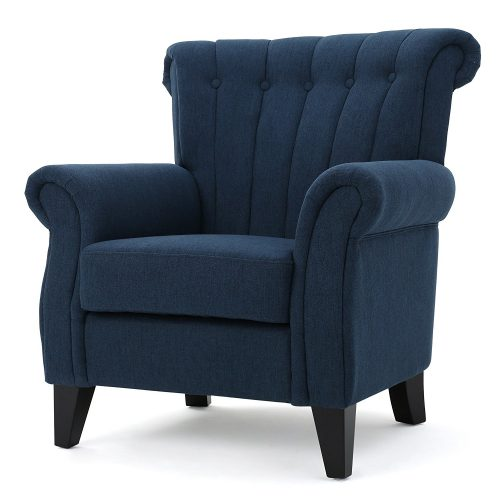 Romee Channel Dark Blue Fabric Club Chair - Leather and Fabric Club Chairs