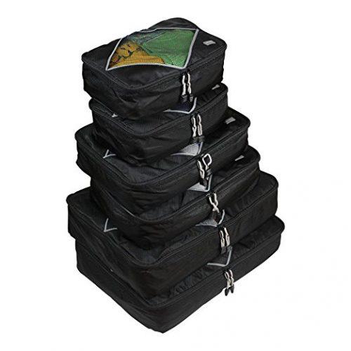 Rusoji Premium Packing Cube Travel Luggage Organizers - 6pc Various Size Set. - packing cube