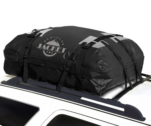 SHIELD JACKET Waterproof Roof Top Cargo Luggage Travel Bag (15 Cubic Feet) - Roof Top Cargo Carrier for Cars, Vans and SUVs - Great for Travel or Off-Roading - Double Vinyl Construction, Easy to Use - Best Waterproof Roof Top Cargo Bags