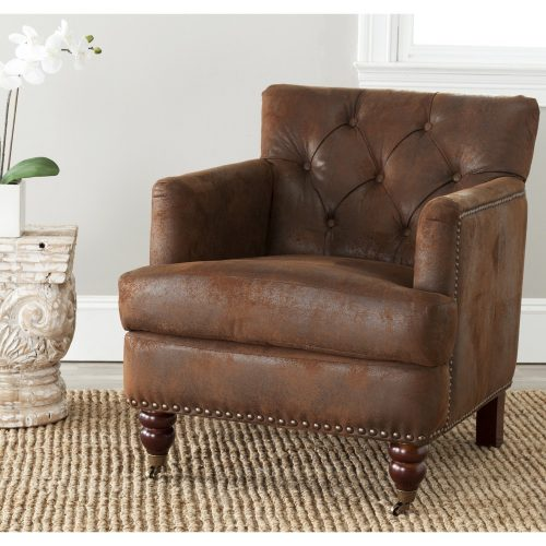 Safavieh Hudson Collection Mario Antiqued Brown Club Chair - Leather and Fabric Club Chairs